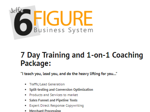 Jeff's 6 Figure Business System