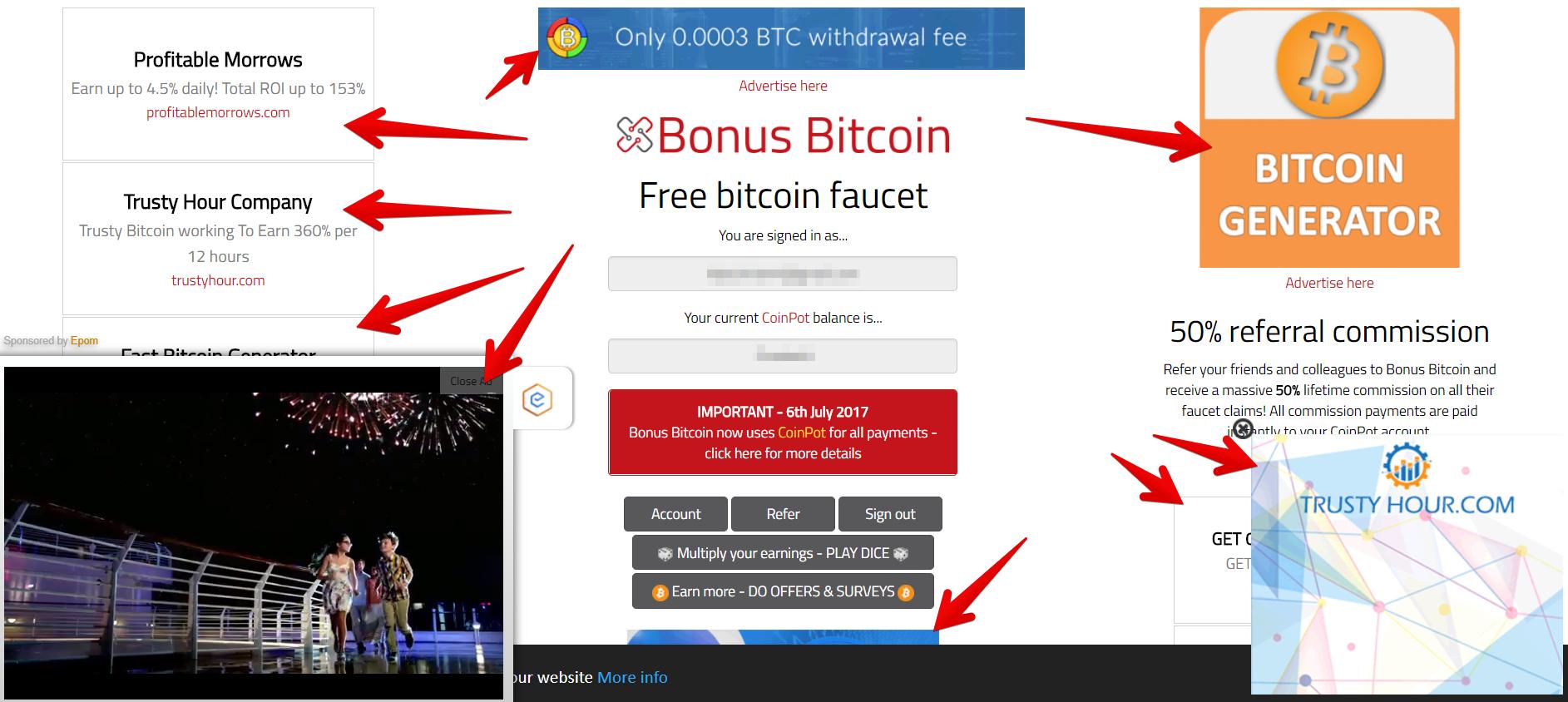 Bonus Bitcoin ads