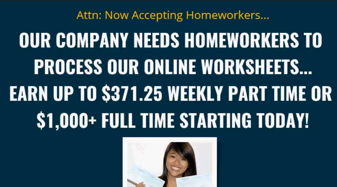 worksheet processing scams