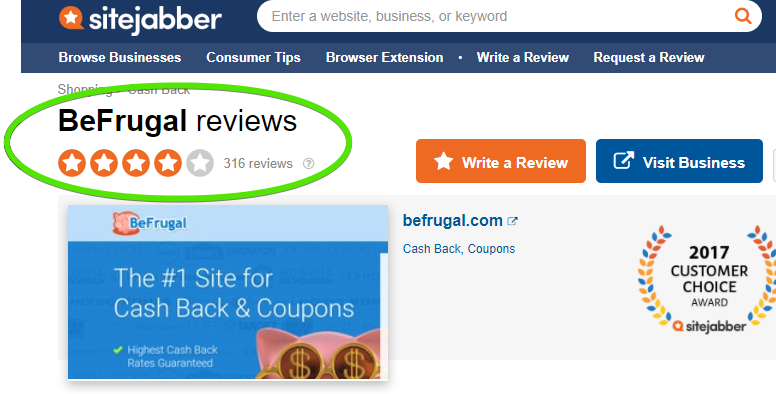 BeFrugal Reviews SiteJabber