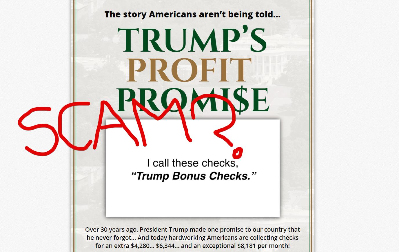 Trump Bonus Checks Scam