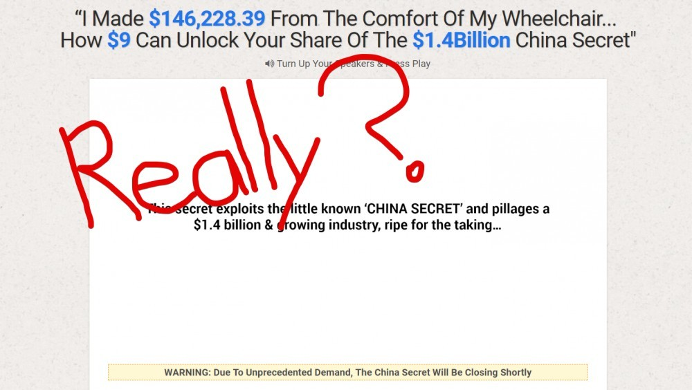 screenshot of The China Secret's Sales Page