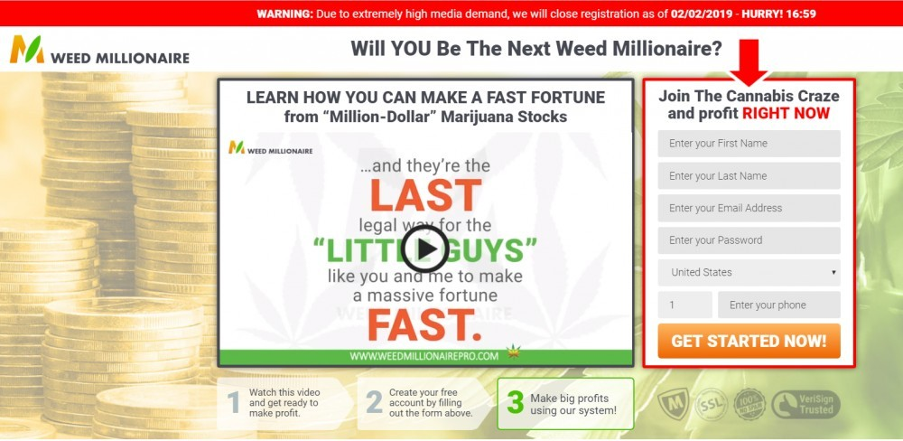 Weed Millionaire Scam