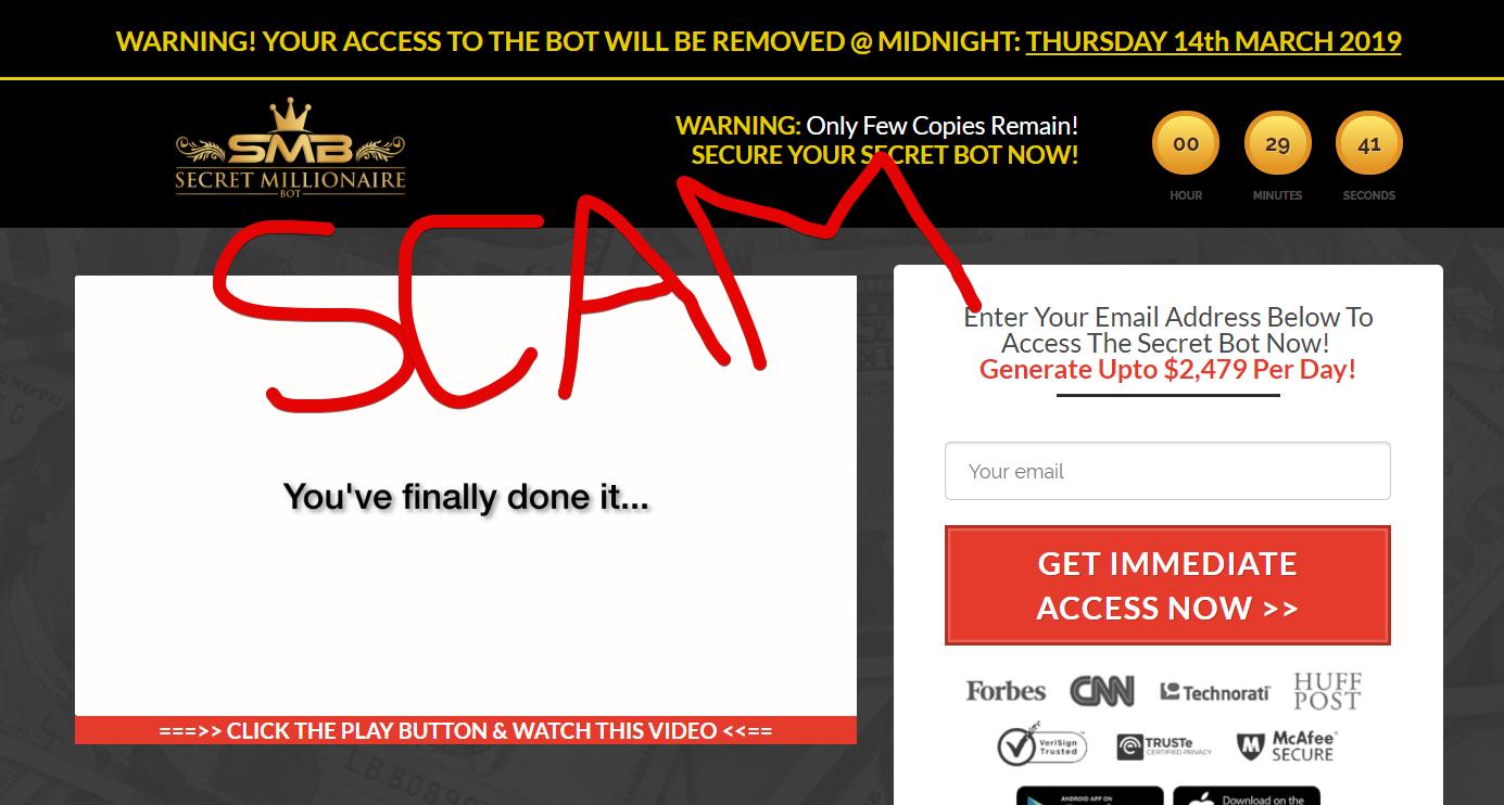 Secret Millionaire Bot Scam